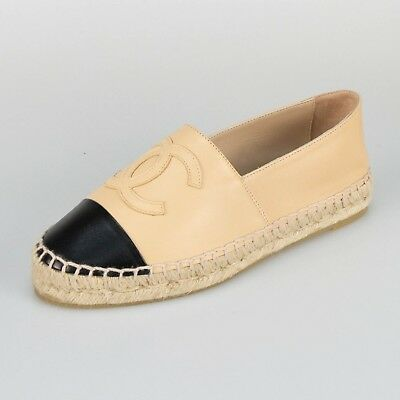 177682af540 NIB CHANEL BLACK Leather Logo Espadrilles Flats Shoes Size 8/39 ...