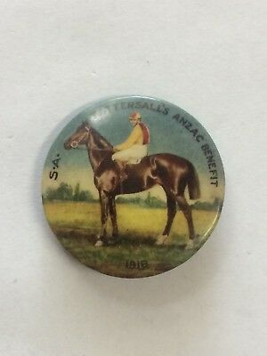 1918 South Australia Tattersall's Anzac Benefit Appeal Day Button Badge Horse