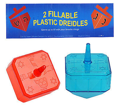 ISRAEL GIFTWARE DESIGNS Dreidles, Fillable, Assorted Colors, 3.75-In., 2-Pk.