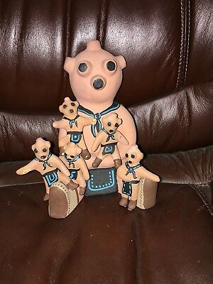 Mudhead Family Storyteller Pottery Figurines
