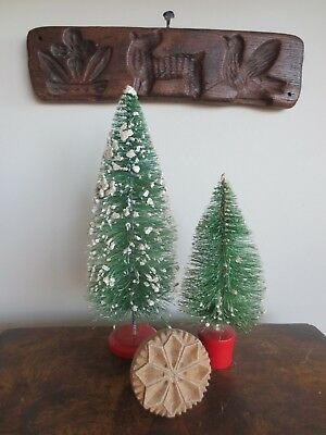 Vintage Christmas Bottle Brush Trees 9.5in & 6in Decorative Snow Winter Holiday