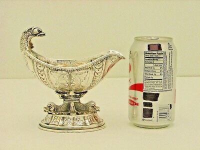 Italian Solid Silver Sauce Boat with Figural Dolphin Handle Marked Milano 800