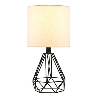 CO-Z Table Lamp with White Fabric Shade, Desk Lamp with Hollowed (Black Base)