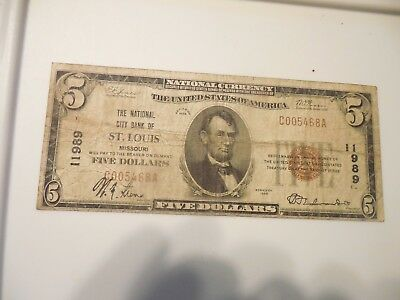 1929 $5 The National City Bank Of St. Louis Five Dollars Currency Paper Money