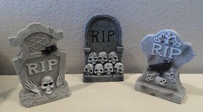 3 Spooky Tombstones Graves Halloween Grave Sites Skulls Crows Ravens Spider New