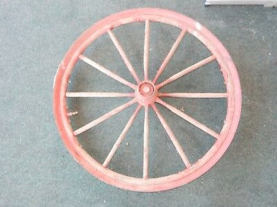 """Antique 41"""" Red Wood Wagon Wheel with Hub"""