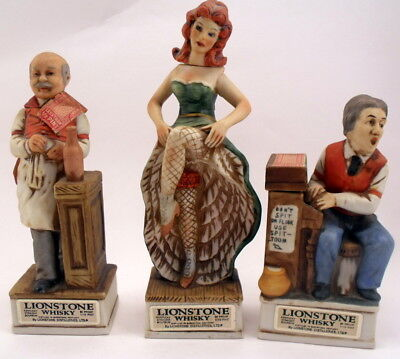 LIONSTONE WHISKY Miniature Porcelain Decanters Old Western Saloon Figures 1975