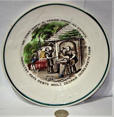 "Antique Child's Transfer Plate, Moral Maxim,  ""-INDUSTRY PAYS DEBTS"", c. 1840"