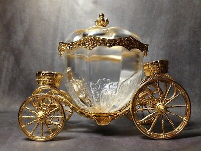 Cinderella Coach crystal 24k Gold Franklin Mint Christmas Jewelry Collectible