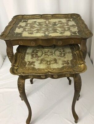2 Mid Century Hollywood Regency Gold Plastic Gilt Florence Italy Nesting Tables