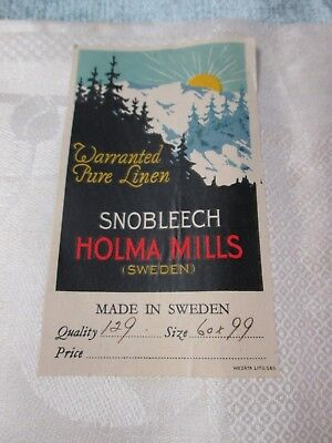 Antique SWEDISH Linen Damask Towel Art Deco Tulips Never Used w/ Label