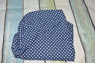 PBK Pottery Barn Kids Navy Blue White Polka Dot Fitted Crib Sheet 100% Cotton