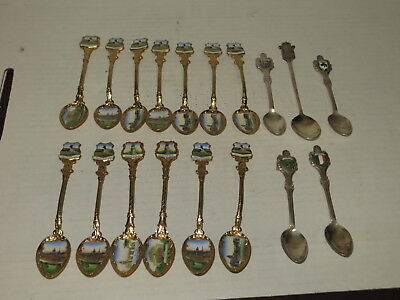 @ Vintage Lot Of 18 International Souvenir Travel Spoons  @