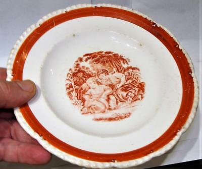 Antique Child's Rust Transfer Plate, Two Girls, c. 1845