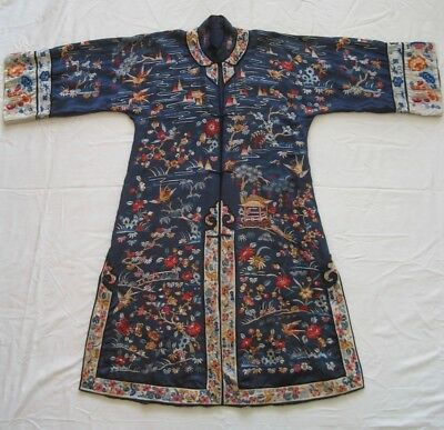 vintage antique CHINESE BLUE SILK EMBROIDERED ROBE