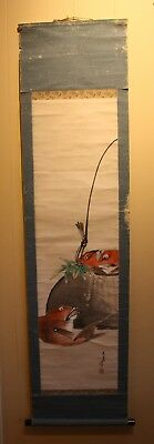 Old Chinese scroll painting on paper signed by artist