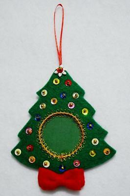 """Hand Crafted 5"""" Green Felt Jeweled Sequined Christmas Tree Photo Ornament"""