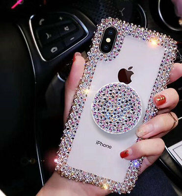 Luxury Bling Crystal Rhinestone Cover Glitter Diamond Stand Case For iPhone XR X