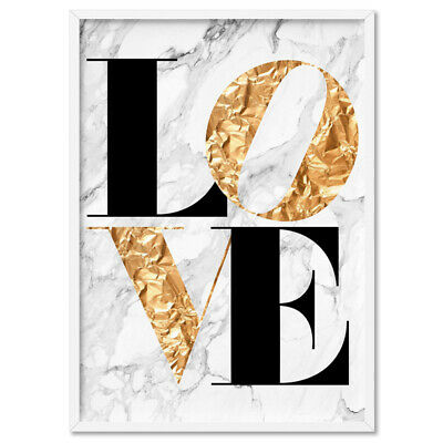 Iconic Love (faux gold + white marble) - Typography Wall Art Print Poster Canvas