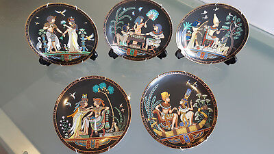 5 Egyptology Theme Ltd Edition Wall Plates With Seals & Hangers. * A1 *