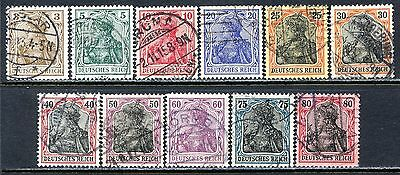 Germany Postage Stamps Scott 81-91, Used Partial Set!! G1507b