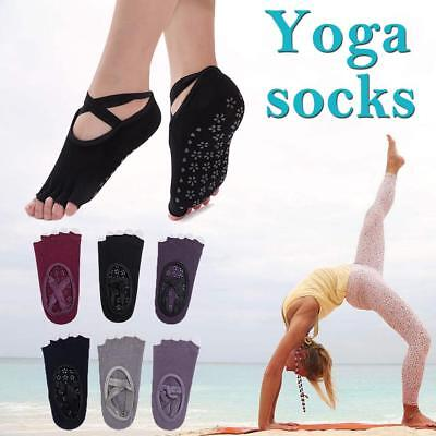 Women's Yoga Socks Barre Cotton Pilates Sports Dance Socks Toeless Non Slip Skid