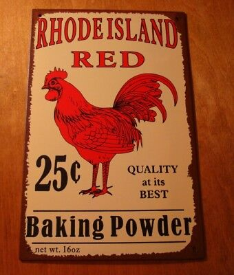 Red Rooster Baking Powder Sign Country Primitive Kitchen Chicken Farm Decor NEW