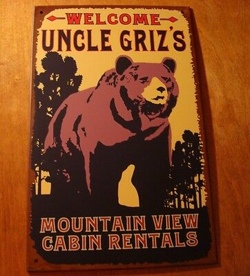 Rustic Lodge Cabin Bear Welcome Sign UNCLE GRIZZLY MOUNTAIN VIEW CABIN RENTALS