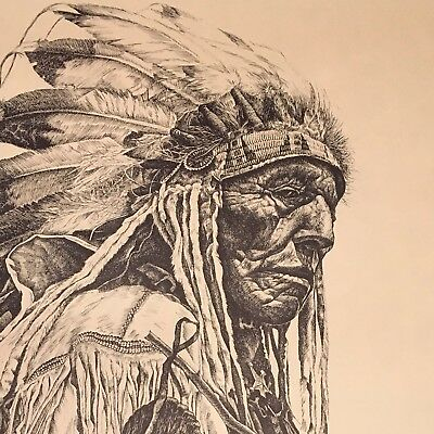 Dan Brewer Western Indian Sioux Chief Red Cloud signed print Reflections of Coup