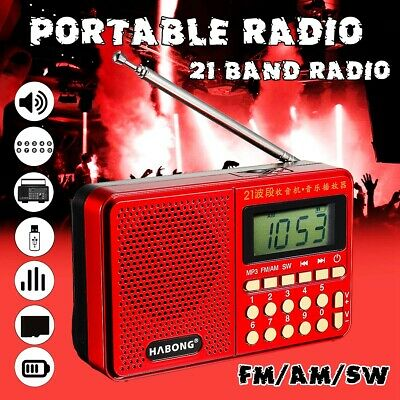AM/FM/SW 21 Band Portable Radio SD/USB MP3 Player Digital Rechargeable w/Battery