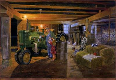Never to Busy John Deere Tractor Art Print By Dave Barnhouse Signed and Numbered