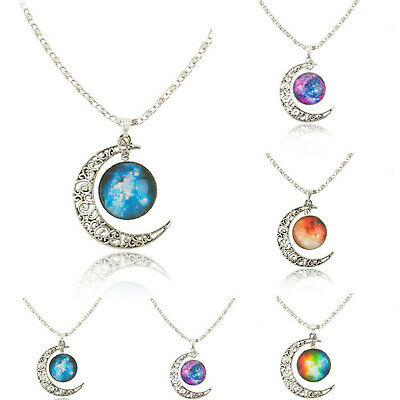 Women Galactic Glass Cabochon Pendant Silver-tone Crescent Moon Necklace UP
