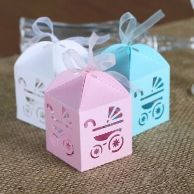 10PCS Baby Shower Favor Boxes Laser Cut Carriage Gift Candy Sweet Box 3 Colours