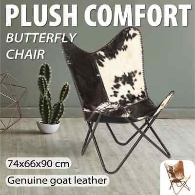 vidaXL Butterfly Chair Genuine Goat Leather Sleeper Seat White and Black/Brown