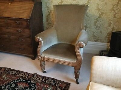 George 111  Mahogany Framed Armchair With Reed Carved Decoration