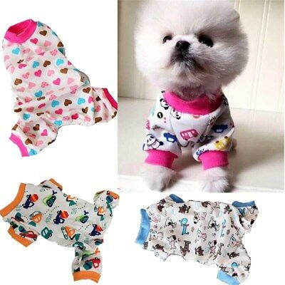 Small Pet Dog Pajamas Clothes Jumpsuit Cartoon Cotton Puppy Sleepwear Apparel