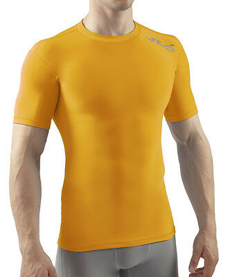 Sub Sports Cold Thermal Mens Short Sleeve Top Compression Baselayer - Yellow