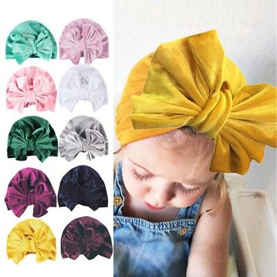 Cute Infant Newborn Toddler Kids Baby Girl Bowknot Turban Beanie Headwear Hat