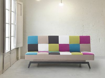 Upholstered Sofa bed - Couch - Fabric Sofa - Settee - Patchwork - LEEDS