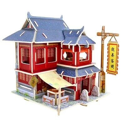 3D Jigsaw Wood Miniature 1/24 DIY Doll House Kit Kids Gift Chinese Inn Model