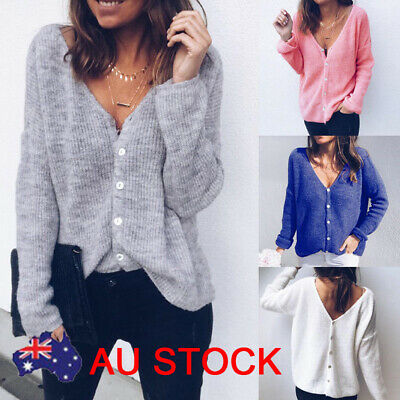 AU Women's V-Neck Long sleeve Knitted Sweater Button Cardigan Casual Loose Tops