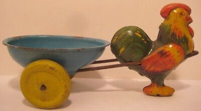 "Colorful Antique Tin Toy Easter Egg Cart w Rooster 7  1/4"" Lindstrom 1930s"