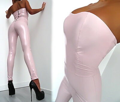 Rosa Overall Lackleder Optik Stretchmade In Italy Damen Catsuit U92 Sexy Fit S