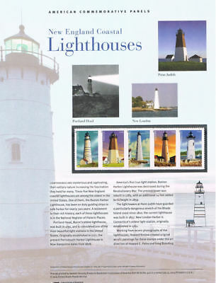 #920  Forever New England Lighthouses #4791-95 USPS Commemorative Stamp Panel