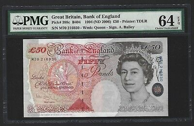 1994 Great Britain 50 Pounds Bank of England, Bailey P-388c, PMG 64 EPQ UNC 2006