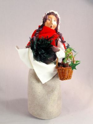"""Byers' Choice 13"""" Woman with Greens Caroler Figurine 2002 ExcCond"""