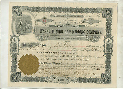 1898 Byrne Mining Milling Company Washington Stock Certificate Issue #14
