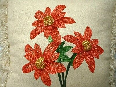 ** French Beaded Flowers ** 3 Red Handmade Poinsettias With Gold Centers **