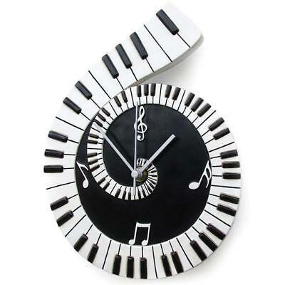 Piano Scroll Wall Clock Music Gift Art Xmas Musician Musical Keyboard New Design