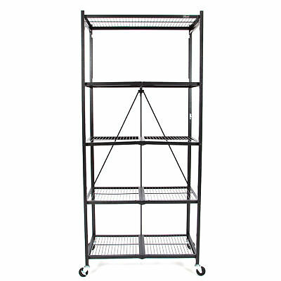 Origami 5 Tier Collapsible  Household General Purpose Shelf and Rack, Black
